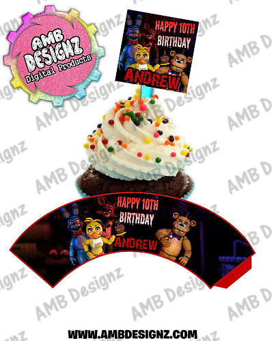Five Nights at Freddy's (FNAF) Cupcake Topper and Cupcake wrapper - FNAF Party Supplies