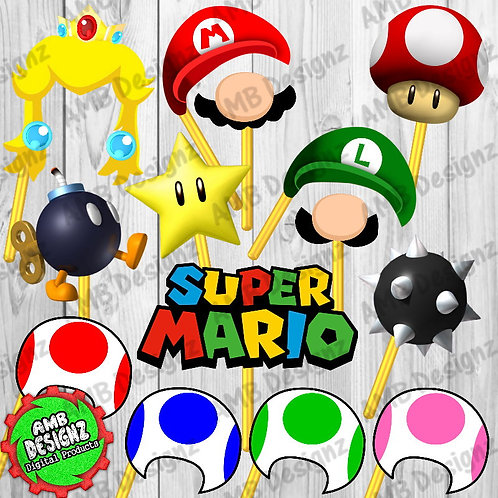 Mario Photo Booth Props Party Decorations Party Supplies