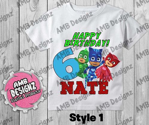 PJ Masks T-Shirt Birthday Image - PJ Masks Party Supplies