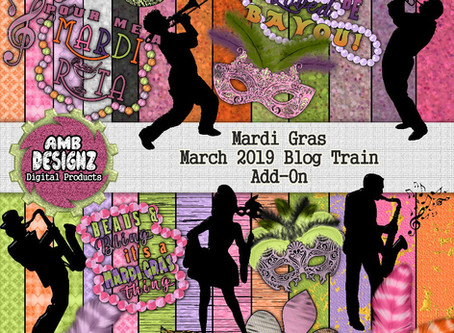 Mardi Gras Digital Scrapbooking - Pixel Scrapper March 2019 Blog Train