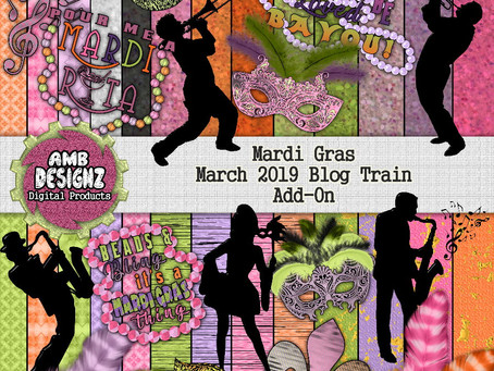 Mardi Gras Digital Scrapbooking - Pixel Scrapper March 2019 Blog Train