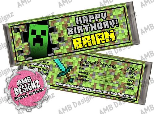 Minecraft Candy Bar Wrap, Minecraft Party Supplies