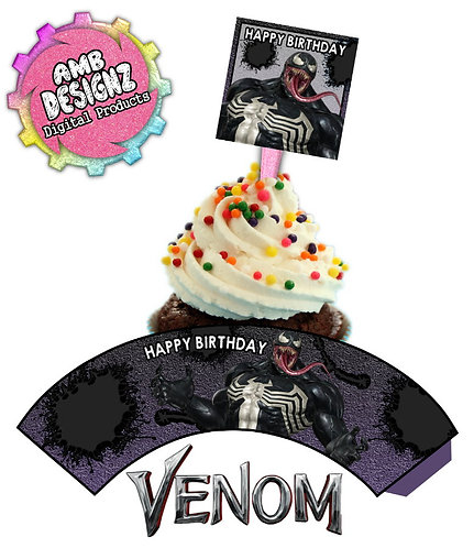 Venom Cupcake Toppers Party Supplies