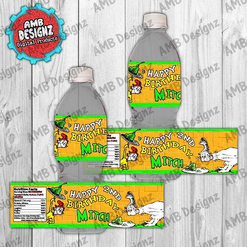 Dr. Seuss Green eggs and Ham Water Bottle Wrap - Dr. Seuss Party Supplies