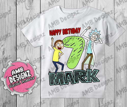 Rick and Morty T-Shirt Birthday Image - Rick and Morty Party Supplies
