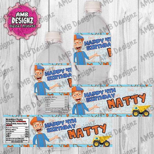 Blippi Water Bottle Wrapper - Blippi Party Supplies