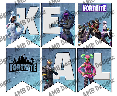 Digital Fortnite Birthday Party Pennant Flag Banner - INSTANT DOWNLOAD