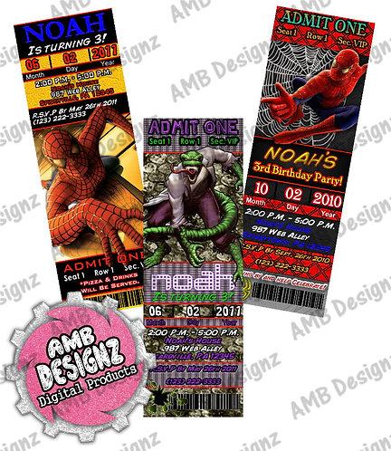 Spiderman Superhero Ticket Invitations Party Supplies