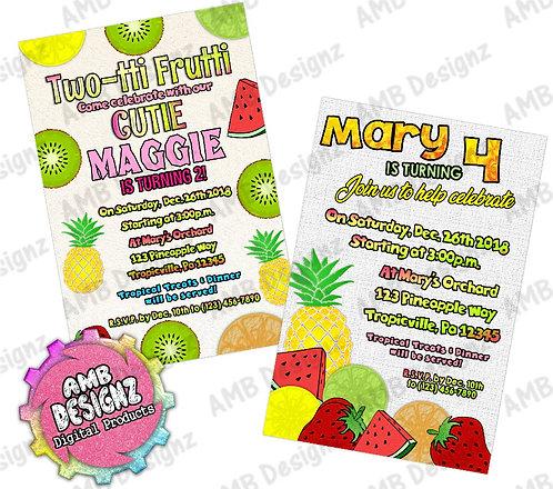 Tutti Frutti Invitations - Tutti Frutti Party Supplies