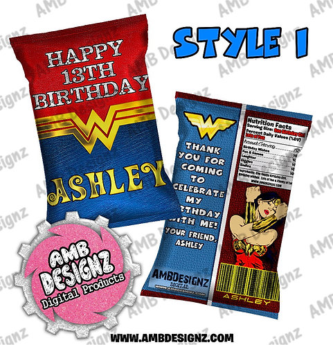 Wonder Women Chip Bag Favor - Wonder Women Party Supplies