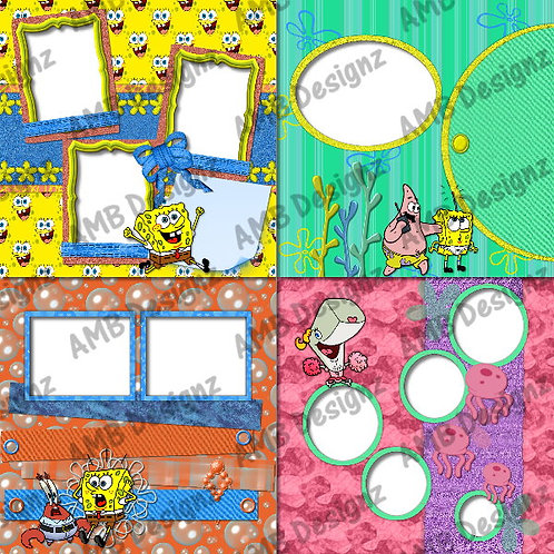 SpongeBob Squarepants Digital Scrapbooking Premade Album/Pages