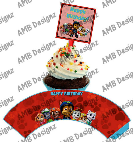 Paw Patrol Cupcake wrap and Topper set  - INSTANT DOWNLOAD