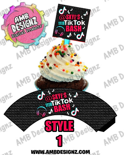 Tik Tok Cupcake Topper and Tik Tok Cupcake wrapper - Tik Tok Party Supplies