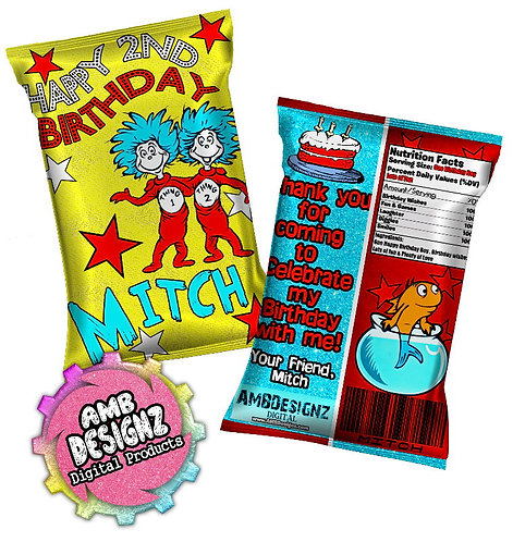 Dr. Seuss Thing 1 and Thing 2 Chip Bag Party Favor Party Supplies