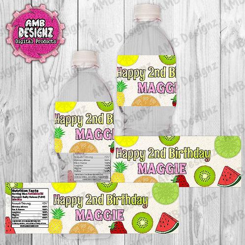 Tutti Frutti Water Bottle Wrapper - Tutti Frutti Party Supplies