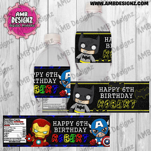 Superhero Water Bottle Wrap - Superhero Party Supplies