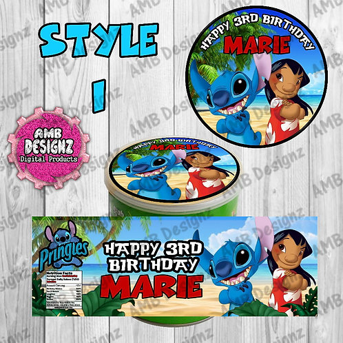 Lilo and Stitch Pringles Can Labels - Lilo and Stitch Party Supplies