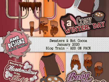 Pixel Scrapper - January Blog Train - Sweaters & Hot Cocoa
