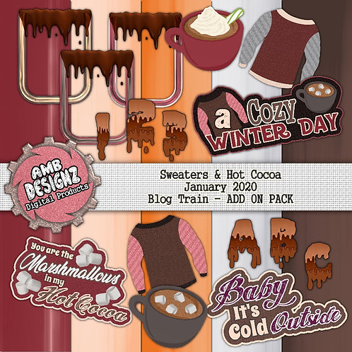 Sweaters and Hot Cocoa Digital Scrapbooking Kit + Add On