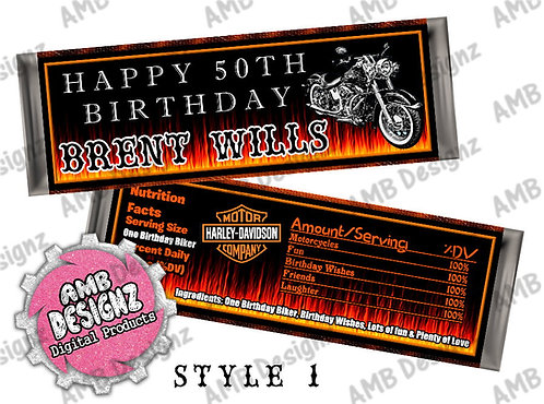 Harley Davidson Candy Bar Wrapper, Harley Davidson Party Supplies
