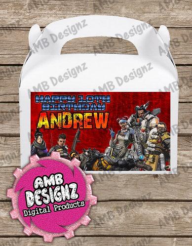 Apex Legends Gable Box/Treat Box Label Supplies - Apex Legends Party Supplies