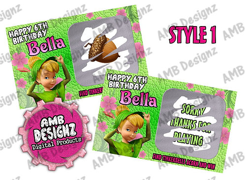 Tinkerbell Fairies Scratch Off Ticket Favor - Tinkerbell Fairies Party Supplies