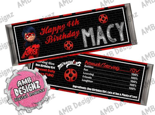 Miraculous Ladybug Candy Bar Wrap, Miraculous Ladybug Party Supplies