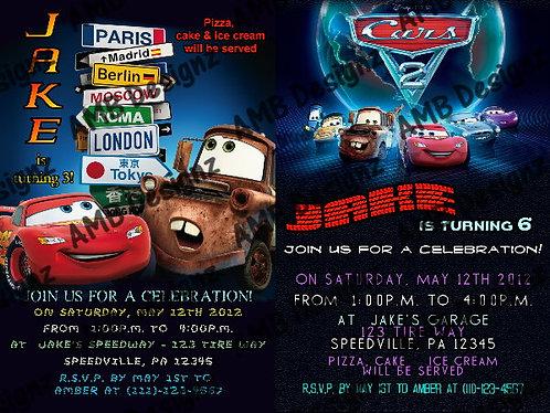 Disney's Cars 2 Custom Digital Invitation