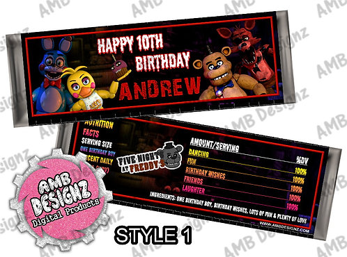 Five Nights at Freddy's (FNAF) - Candy Bar Wrapper, FNAF Party Supplies