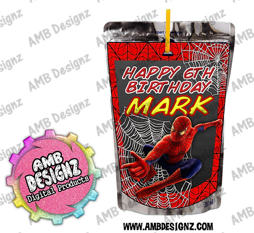 Spiderman Capri-Sun Juice Pouch Label - Spiderman Party Supplies
