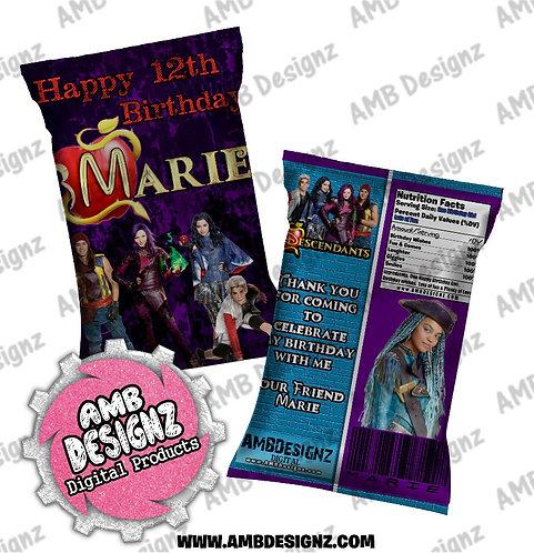 Disney Descendants Chip Bag Favor - Disney Descendants Party Supplies