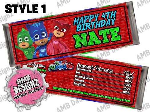 PJ Mask Candy Bar Wrap, PJ Mask Party Supplies