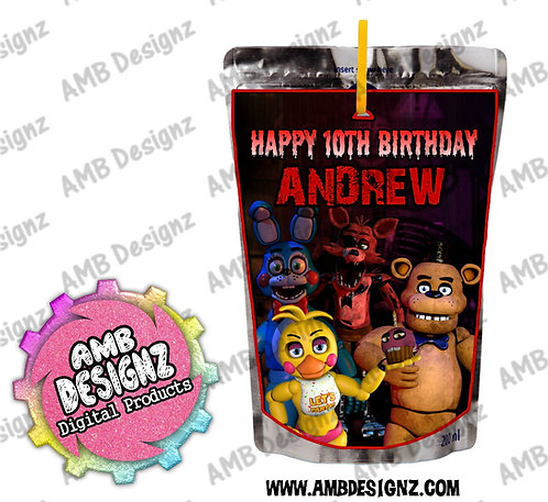Five Nights at Freddy's (FNAF) - Capri-Sun Pouch Label - FNAF Party Supplies