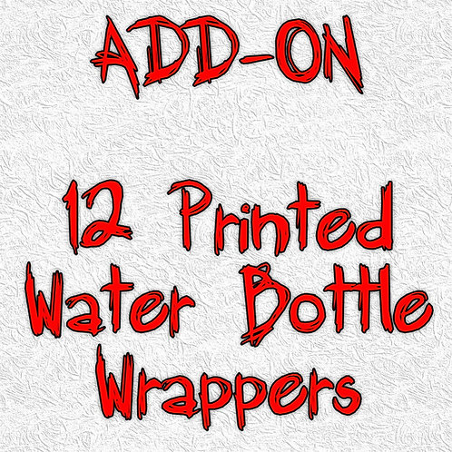12 Printed water bottle wrappers - ADD-ON