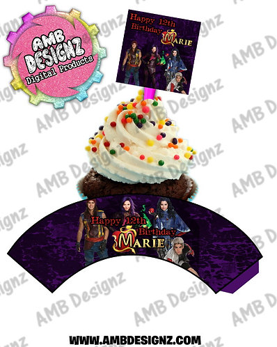 Disney Descendants Cupcake Topper and Disney Descendants Cupcake wrapper set