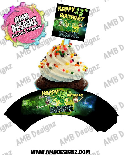 Rick and Morty Personalized Cupcake Topper and Cupcake wrapper set