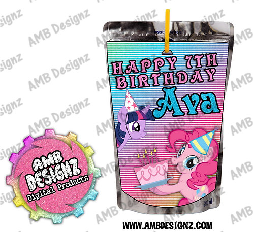 My Little Pony Juice Pouch Label - My Little Pony Party Supplies