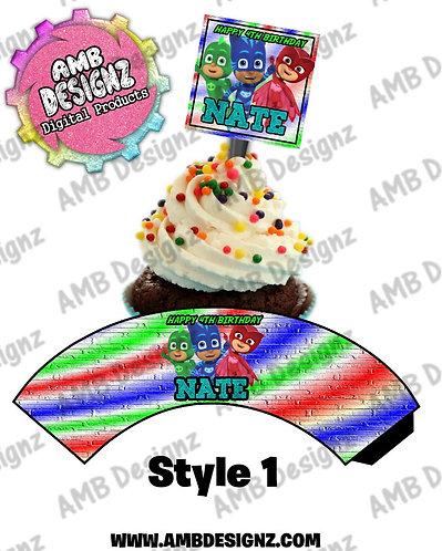 PJ Mask Cupcake Topper and PJ Mask Cupcake wrapper