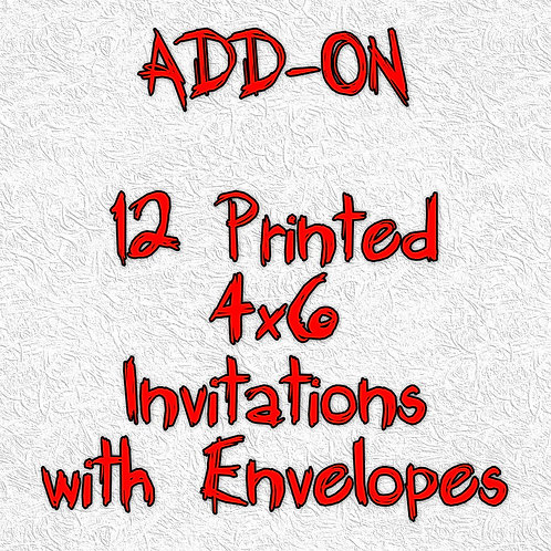 12 Printed 2x6 Ticket Invitations with Envelopes - ADD-ON