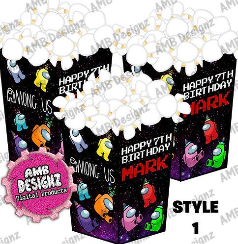 Among Us Popcorn Box Favor - Among Us Party Supplies