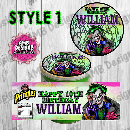 Joker Pringles Can Labels - Joker Party Supplies