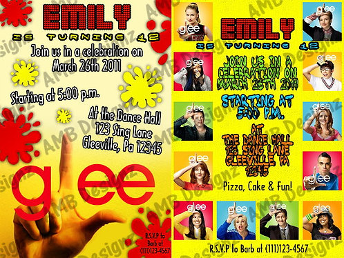 Glee party supplies Invitations