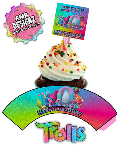 Trolls cupcake Topper and Cupcake wrap