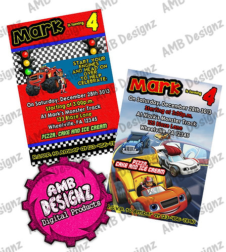 Blaze and the monster machines Invitations - Blaze Party Supplies