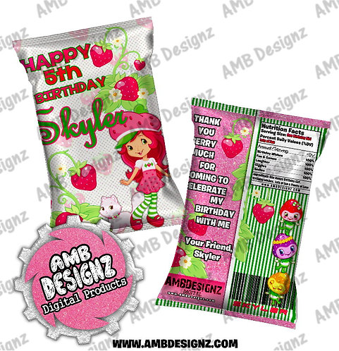 Strawberry Shortcake chip bag - Strawberry Shortcake Party Supplies