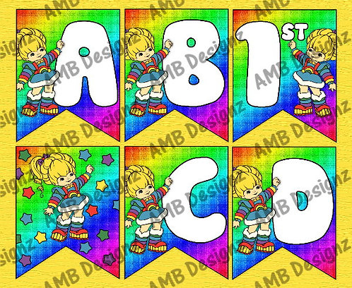 Rainbow Brite Birthday Party Pennant Flag Banner - INSTANT DOWNLOAD