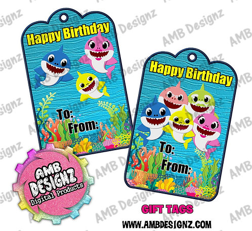 Baby Shark Gift Tag Party Favors - Baby Shark Party Supplies