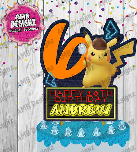 Pikachu Detective DIY Cake Topper Centerpiece -Pikachu Party Supplies