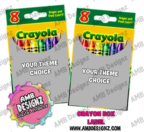 Custom Personalized themed Crayon Box Labels