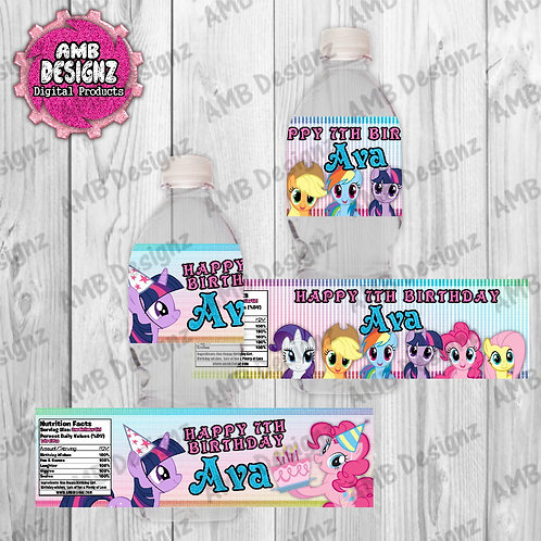 My Little Pony Water Bottle Wrap Party Supplies
